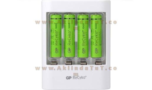 4 ADET GP RECYKO 1000 SERİSİ AAA ŞARJLI İNCE KALEM PİL + GP U411 USB PİL ŞARJ CİHAZI