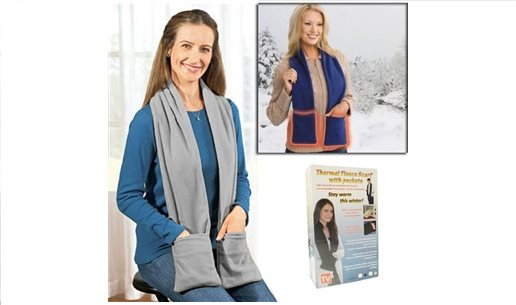 TERMAL CEPLİ POLAR ATKI THERMAL FLEECE SCARF WİTH POCKETS